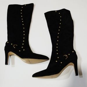 Ann Marino Gold Stud Suede Boots